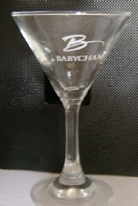 Babycham Martini-style Cocktail Glass with Alternative Logo